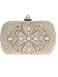 cheap -Women's Bags Polyester Evening Bag Pearls Crystals Floral Print Wedding Bags Wedding Party Event / Party Black Beige