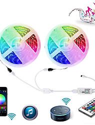 Недорогие -ZDM Wi-Fi Smart светодиодные полосы света 2 х 5 м 5050 водонепроницаемый RGB ленты свет работа с контроллером ключа ir24
