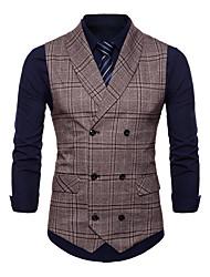 cheap -Men's Vest Shirt Collar Polyester Gray / Khaki