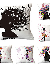 cheap -Set of 6 Polyester Pillow Cover, Art Deco Floral Print Lovers Boho Square Traditional Classic Throw Pillow