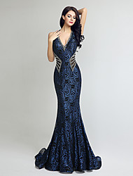 cheap -Mermaid / Trumpet V Neck Court Train Lace / Tulle Luxurious / Blue Engagement / Formal Evening Dress with Beading 2020