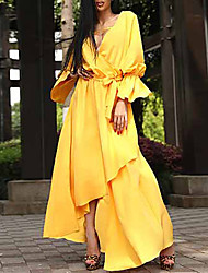 cheap -Women's Party Work Casual Lantern Sleeve Swing Dress - Solid Color Split Yellow S M L XL