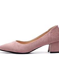 cheap -Women's Heels Chunky Heel Pointed Toe PU Spring & Summer Black / Pink / Light Pink