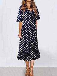 cheap -Women's A Line Dress - Polka Dot Blue White Black S M L XL