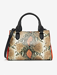 cheap -Women's PU Leather Top Handle Bag Leather Bags Snakeskin Green