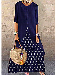 cheap -Women's A-Line Dress Maxi long Dress - Half Sleeve Polka Dot Polka Dots Spring Summer Classic & Timeless Vacation Cotton Loose 2020 Black Red Blushing Pink Navy Blue M L XL XXL XXXL XXXXL XXXXXL