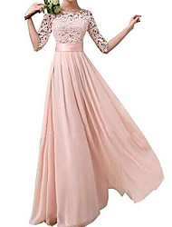 cheap -A-Line Jewel Neck Floor Length Lace Bridesmaid Dress with Appliques