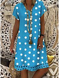 cheap -Women's Loose Dress - Short Sleeves Polka Dot V Neck Blue Yellow Khaki Gray S M L XL XXL XXXL