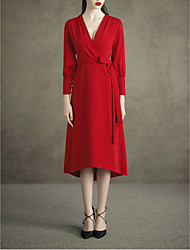cheap -A-Line V Neck Tea Length Spandex Minimalist / Red Cocktail Party / Wedding Guest Dress with Buttons / Sash / Ribbon 2020