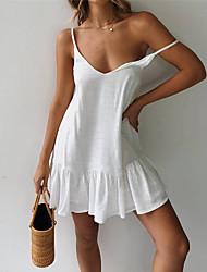 cheap -Women's Sheath Dress - Solid Color White Yellow Green S M L XL