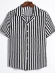 cheap -Men's Daily Basic Shirt - Striped Black & White, Print Black