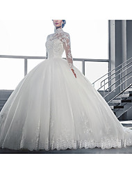 cheap -Ball Gown High Neck Sweep / Brush Train Tulle Long Sleeve Beach Wedding Dresses with Lace Insert / Embroidery 2020