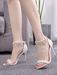cheap -Women's Wedding Shoes Stiletto Heel Pointed Toe Imitation Pearl / Buckle / Tassel PU Sweet / Preppy Fall / Spring & Summer White / Party & Evening