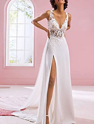 cheap -A-Line V Neck Sweep / Brush Train Chiffon / Lace Sleeveless Formal Plus Size Wedding Dresses with Draping / Appliques / Split Front 2020