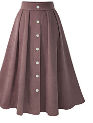 cheap -Women's Daily Wear Basic A Line Skirts - Solid Colored Blushing Pink Royal Blue One-Size