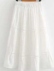 cheap -Women's A Line Skirts - Solid Colored White One-Size