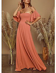 cheap -A-Line Empire Elegant Holiday Prom Dress Off Shoulder Short Sleeve Floor Length Spandex with Pleats 2021
