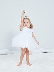 cheap -Ball Gown Short / Mini First Communion Christening Gowns - Polyester Short Sleeve Jewel Neck with Bow(s) / Appliques
