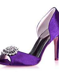 cheap -Women's Wedding Shoes Stiletto Heel Peep Toe Rhinestone Satin Classic Spring & Summer Black / White / Purple / Party & Evening