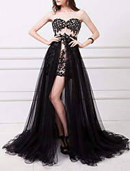 cheap -A-Line Sexy Black Prom Formal Evening Dress Strapless Sleeveless Floor Length Polyester with Split Appliques 2020