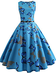 cheap -Women's Party Daily Vintage Style Street chic Swing Dress - Print Butterfly, Patchwork Print Blue S M L XL