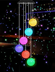 cheap -1pcs  Solar particle sphere Solar Powered LED Wind Chime Hummingbird Wind Chime Color-Changing Waterproof for Party Patio Yard Garden Decor