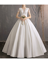 cheap -Ball Gown Jewel Neck Floor Length Satin / Tulle Short Sleeve Simple Plus Size / Elegant Wedding Dresses with 2020