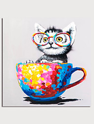 cheap -Hand Painted Canvas Oilpainting Abstract Animal Cat with Cup by Knife Home Decoration with Frame Painting Ready to Hang With Stretched Frame