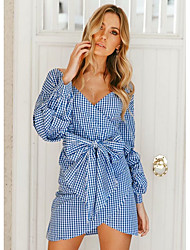 cheap -Women's A Line Dress - Plaid Light Blue S M L