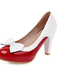cheap -Women's Heels Stiletto Heel Round Toe PU Spring &  Fall Black / Light Brown / Red