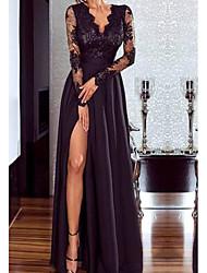 Недорогие -Жен. Макси Свободный силуэт Платье - Длинный рукав Сплошной цвет V-образный вырез Винный Черный S M L XL
