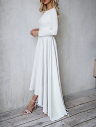 cheap -A-Line Minimalist White Engagement Formal Evening Dress Jewel Neck Long Sleeve Floor Length Polyester with Pleats 2020