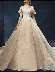 cheap -Ball Gown Sweetheart Neckline Watteau Train Lace Short Sleeve Formal Wedding Dress in Color Wedding Dresses with 2020