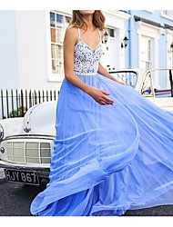 cheap -A-Line Minimalist Blue Wedding Guest Prom Dress Spaghetti Strap Sleeveless Floor Length Tulle with Pleats 2020
