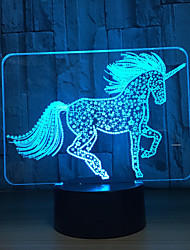 cheap -3D Night Light Cute Unicorn LED Illusion ABS Touch Base Desk Lamp Usb Colorful Visual Light Children Home Decoration Gift Toy