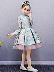 cheap -A-Line Knee Length Pageant Dresses - Stretch Satin Long Sleeve High Neck with Appliques
