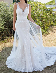 cheap -Mermaid / Trumpet V Neck Sweep / Brush Train Lace Sleeveless Sexy Plus Size / Detachable Made-To-Measure Wedding Dresses with Lace / Appliques 2020