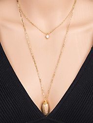 cheap -Women's Pendant Necklace Necklace Layered Necklace Stacking Stackable Shell Classic Rustic Bohemian Trendy Imitation Pearl Chrome Shell Gold 60 cm Necklace Jewelry 1pc For Street Birthday Party Beach