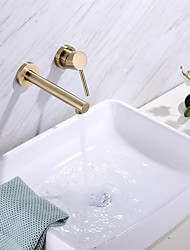 cheap -Bathroom Sink Faucet - Brushed Gold Wall Mounted Basin Faucet Single Handle Two Holes Bath Basin Taps