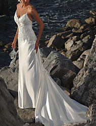 cheap -Mermaid / Trumpet V Neck Sweep / Brush Train Lace Sleeveless Formal / Beach Wedding Dresses with Appliques 2020