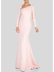 cheap -Sheath / Column Mother of the Bride Dress Elegant V Neck Floor Length Polyester Long Sleeve with Beading Ruching 2021