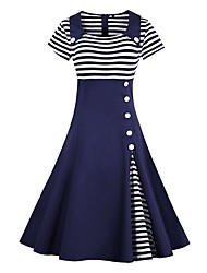 cheap -Women's 2020 Wine Black Dress Elegant Sophisticated Spring & Summer Dress A Line Striped Peter Pan Collar Patchwork S M / Cotton
