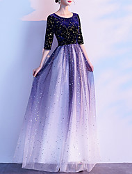 cheap -A-Line Jewel Neck Floor Length Tulle / Velvet Color Block / Blue Prom / Formal Evening Dress with Sequin 2020