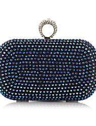 cheap -Women's Crystals / Chain Polyester Evening Bag Solid Color Gold / Blue