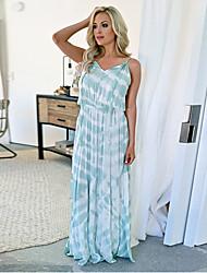 cheap -Women's Maxi Swing Dress - Color Block Strap Royal Blue Green S M L XL