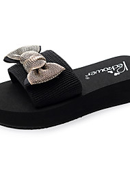 cheap -Women's Slippers & Flip-Flops Flat Heel Open Toe Bowknot Polyester Casual / Minimalism Walking Shoes Summer Black / Gold