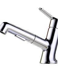 Недорогие -Смеситель для раковины в ванной комнате - поворотный / выдвижной распылитель, хромированная центральная часть, одинарная ручка