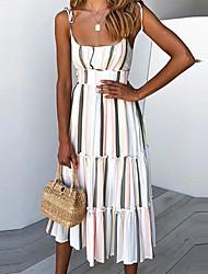 cheap -Women's Daily Casual Sheath Dress - Striped Print Rainbow S M L XL