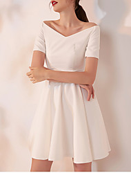 cheap -A-Line Minimalist White Graduation Cocktail Party Dress Off Shoulder Short Sleeve Short / Mini Spandex with Pleats 2020