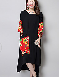 cheap -Women's Black Dress Shift Print M Oversized